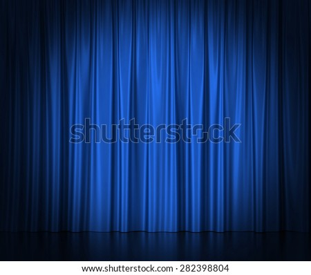 Blue silk curtains for theater and cinema spotlit light in the center. 3d illustration High resolution - stock photo