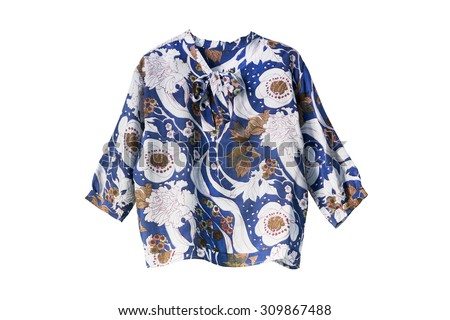 Blue silk ornamental blouse isolated over white - stock photo