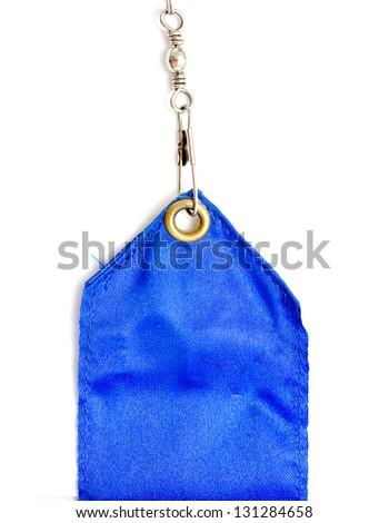 blue silk ribbon on a white background - stock photo
