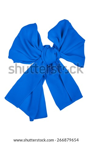 Blue silk scarf folded like bow isolated on white background.  Female accessory.
