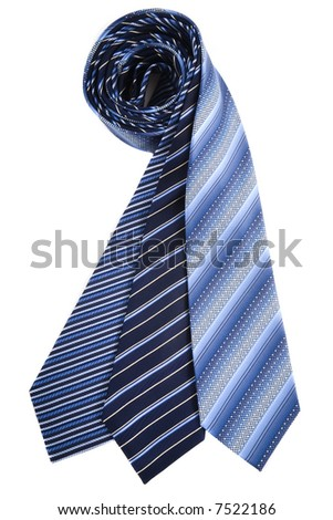 Blue silk ties - stock photo
