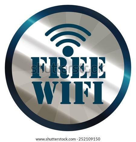 blue silver metallic circle free wifi sticker, icon, label isolated on white - stock photo