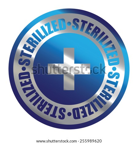 Blue Silver Metallic Circle Sterilized Icon, Label, Banner, Tag or Sticker Isolated on White Background  - stock photo