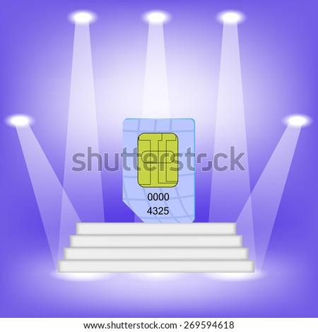 Blue SIM Card  on Light Background. SIM Card on the White Steps. - stock photo