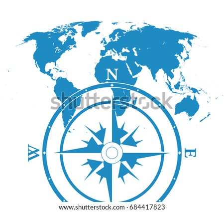Blue similar blank flat world map stock illustration 684417823 blue similar blank flat world map infographic world map with compass gumiabroncs Gallery