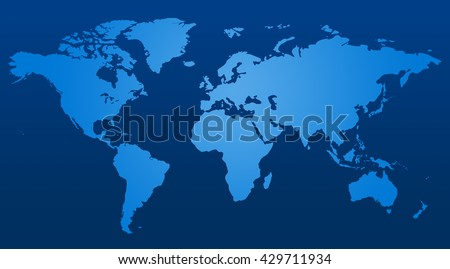 Blue similar world map blank for infographic - stock photo
