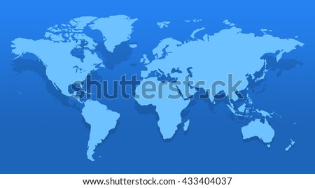 Blue similar world map blank for infographic