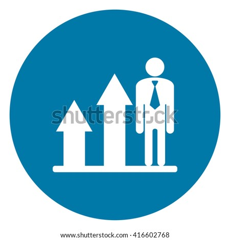 Blue Simple Circle Business Growth Bar Chart Infographics Flat Icon, Sign Isolated on White Background  - stock photo