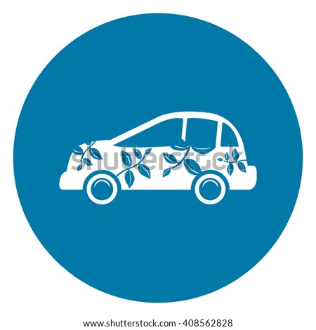 Blue Simple Circle Eco Car Infographics Flat Icon, Sign Isolated on White Background - stock photo