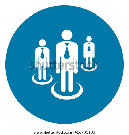 Blue Simple Circle Group of Businessman Infographics Flat Icon, Sign Isolated on White Background - stock photo