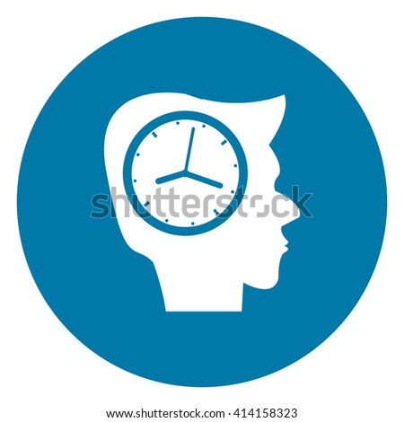 Blue Simple Circle Head With Clock Infographics Flat Icon, Sign Isolated on White Background