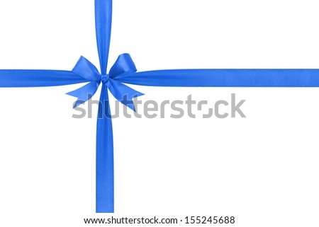 blue simple tied ribbon bow composition, isolated on white
