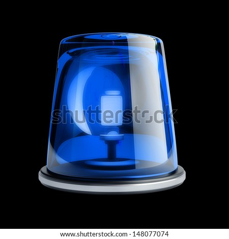 Blue siren isolated on black background. High resolution 3d render  - stock photo