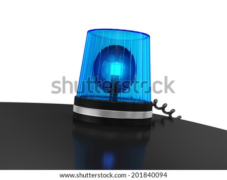 Blue Siren on top of police car isolated on white background