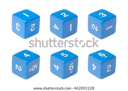 Blue six sided dice for board games