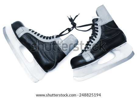 blue skates on white background - stock photo