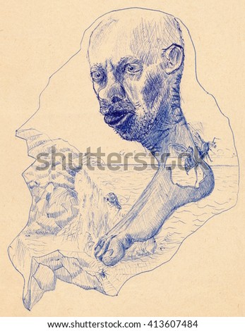 Blue sketch of a mad man head joined with bare foot against sea, rocky coast, wasp and spiderweb. Ballpoint pen on paper.