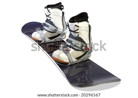 blue ski with boots on a white background - stock photo