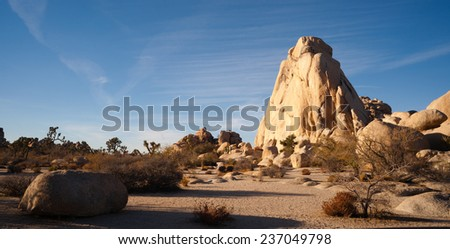 Blue skies and good weather in late November at Joshua Tree - stock photo