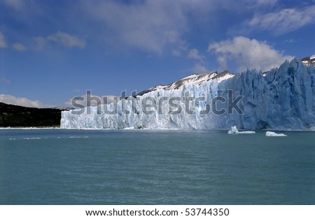 Blue skies of glacier Perito Moreno