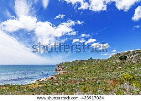 Blue skies, puffy white clouds, aquamarine sea, & unusual geological rock formations, waves crashing on a rocky beach, with seaweed & kelp, along steep sheer jagged cliffs, California Central Coast - stock photo