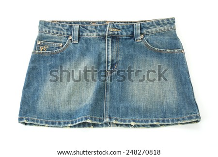 blue skirt jeans texture or detail - stock photo