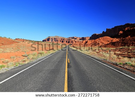 Blue sky above a desert highway, Utah, USA.