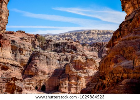 Blue sky above Jordan, Petra