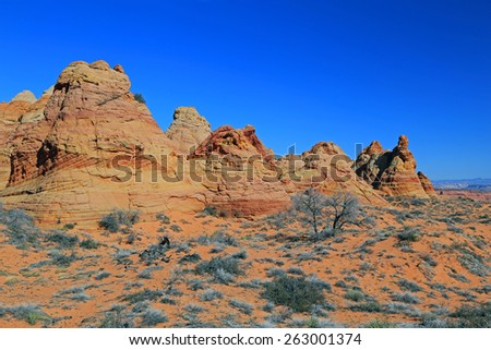 Blue sky above the Arizona desert, USA. - stock photo