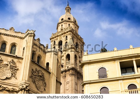 Blue sky above the Cathedral Church of Saint Mary in Murcia