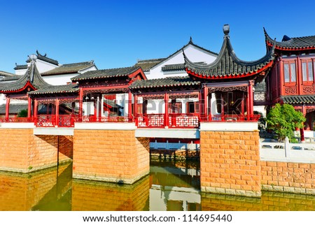Blue sky , ancient Chinese architecture in suzhou: garden. - stock photo