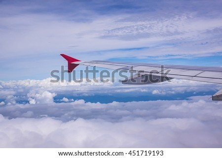 blue sky and beautiful cloud is view of window plane