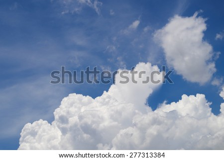 blue sky and beautiful cloud with sun light - stock photo