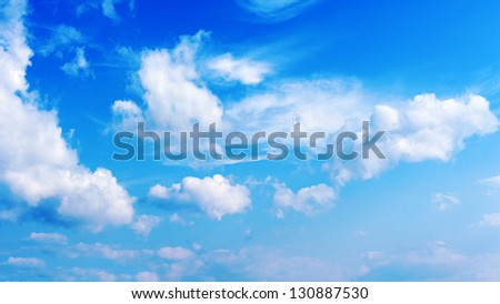 Blue sky and beautiful clouds. - stock photo