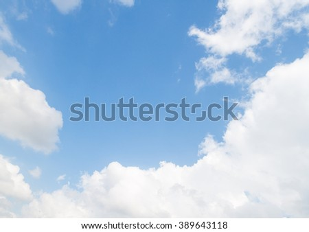 blue sky and big cloud beautiful Colorful vivid in nature background