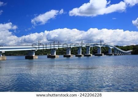 Blue sky and bridge, Notojima oohashi, Ishikawa, Japan  - stock photo