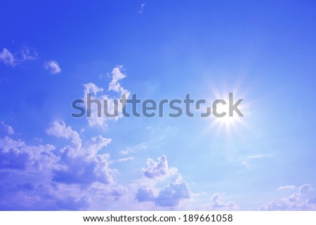 blue sky and bright sunshine with clouds, heavenly background