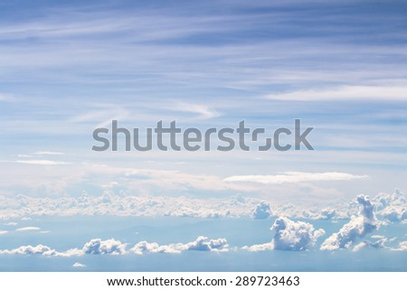 Blue sky and cloud  background seen from airplane