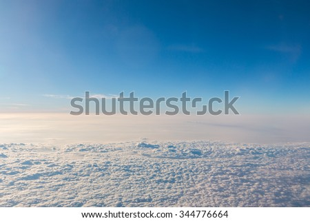 Blue sky and Cloud was taken on a plane for background - stock photo