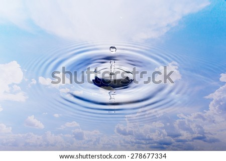 blue sky and cloud water reflection and water drop - stock photo