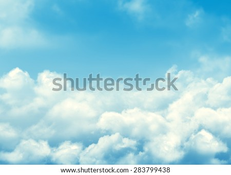 Blue sky and clouds abstract background with copy space - stock photo