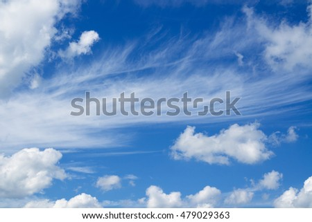 Blue sky and clouds over horizon. White heap clouds in the blue sky.