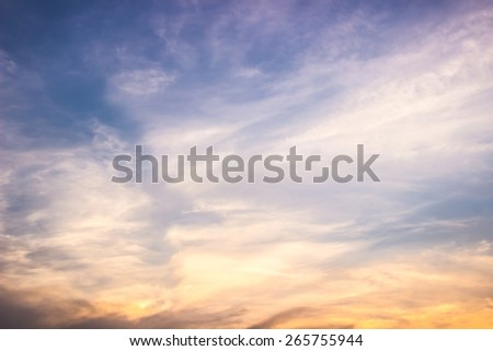 Blue sky and clouds ,sunset - stock photo