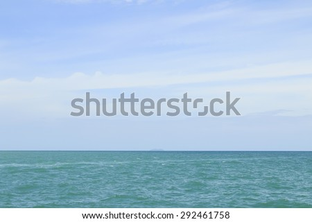 Blue sky and cloudy and blue sea in nature for background. - stock photo