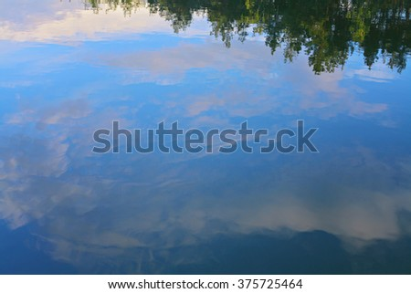 Blue sky and cloudy Colorful sunset  sky reflected in still water at the beach. Grass, trees, reeds and sky reflaction in water   - stock photo