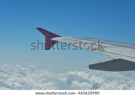 Blue sky and cloudy from plane view