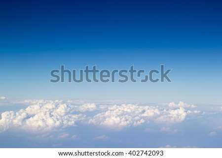 Blue sky and cloudy take a photo from airplane ,top view beautiful