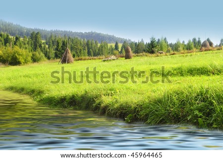 Blue sky and green grass near the water in Carpathian mountains