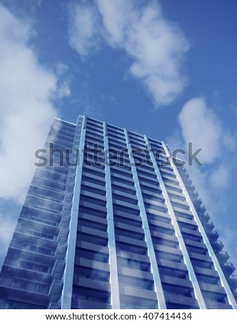 blue sky and high apartment house building