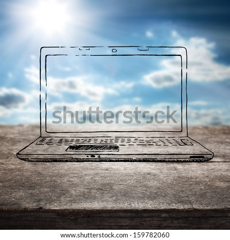 blue sky and laptop  - stock photo